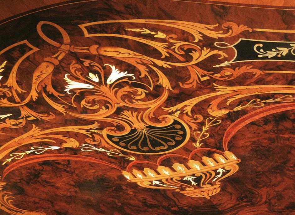 Инкрустировать можно стол, корпусную мебель, иногда, мягкую мебель, где есть деревянные вставки