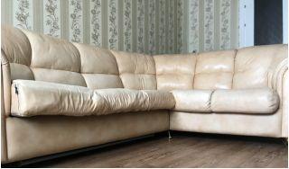 Продается угловой кожаный диван БУ в Минске