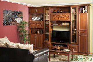 Набор мебели в гостиную Орех, АЛЕКСАНДРИЯ гостиная, Алмаз (Любимый дом), Россия