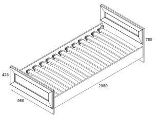 Кровать односпальная LOZ 90, LARGO CLASSIK (Ларго Классик), BRW (БРВ), РБ