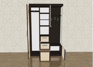 Мебель в прихожую Елена 1,3 софт с рисунком правая ЛД 106.000, венге, Алмаз (Любимый дом), Россия