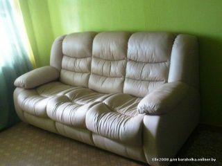 Продам белый кожаный диван БУ в Минске