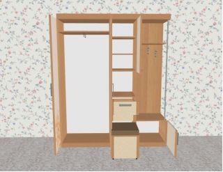 Мебель в прихожую Елена1,7 софт с рисунком правая ЛД 117.000, ольха, Алмаз (Любимый дом), Россия