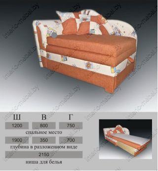 Тахта для девочек Карапуз новый 429, Виктория-мебель, Беларусь